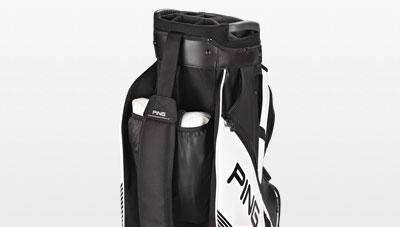 Shoe pocket view of 2017 black DLX cart bag