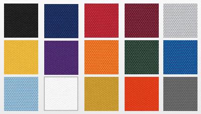 Mascot Team Bag fabric swatches: black, navy, red, maroon, light grey, college gold, purple, light orange, dark green, royal blue, light blue, white, antique gold, dark orange, charcoal grey.