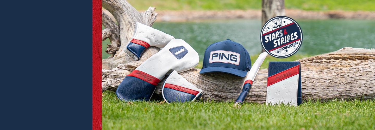 Image of PING US Open collection including headcovers, headwear, accessories and t-shirts.