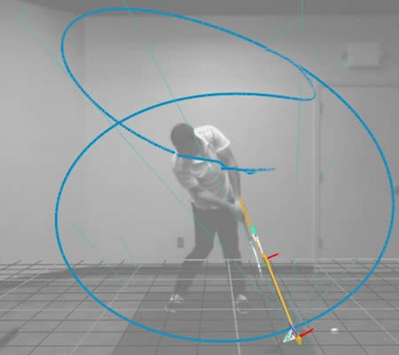 Viktor Hovland's swing captured in ENSO swing analysis software