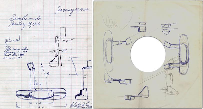 tout premier croquis de l'Anser sur une jaquette de disque juxtaposé à un croquis plus récent sur papier quadrillé