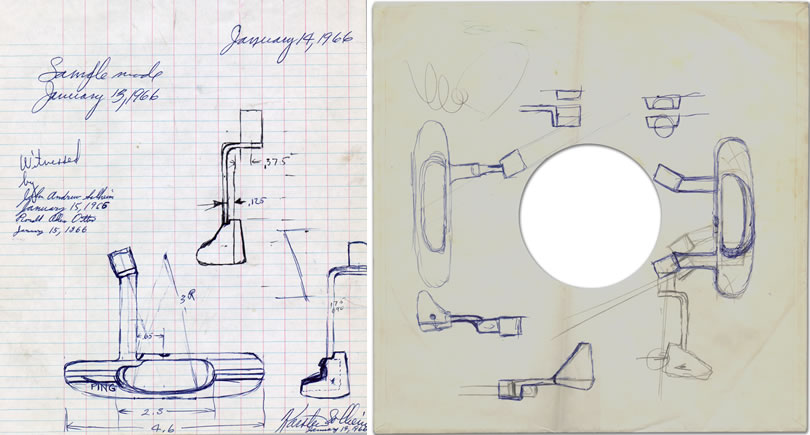 composite of original Anser drawing on a record sleeve and a subsequent drawing on graph paper