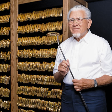 Karsten Poses Outside First Gold Putter Vault