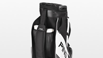 Shoe pocket view of 2017 black DLX cart bag