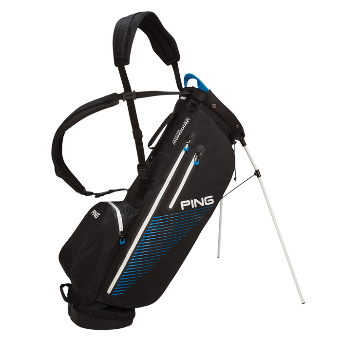 Side view of 2017 Black / Birdie Blue Hoofer Monsoon carry bag