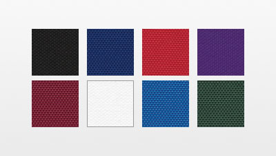 Fabric swatches for Mascot Stock bag: black, navy, red, purple, maroon, white, royal and dark green.