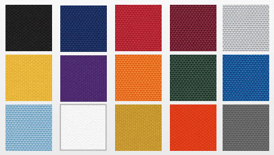 Mascot Team Bag fabric swatches: black, navy, red, maroon, light grey, college gold, purple, light orange, dark green, royal blue, light blue, white, antique gold, dark orange, charcoal grey.
