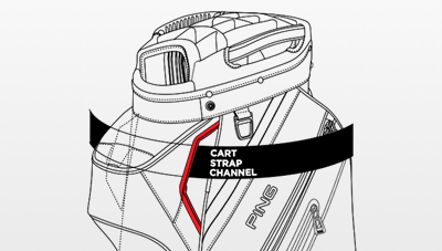 Illustration of Pioneer cart bag cart strap channel