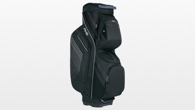 Side view of 2017 black Traverse cart bag