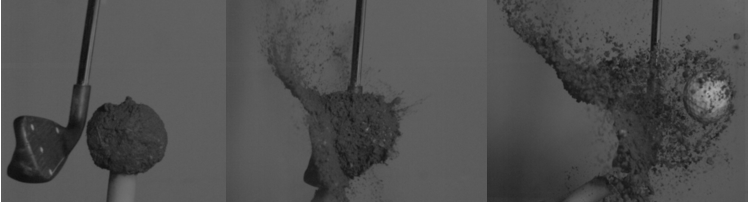 series of still-frames from high speed camera of iron impacting a golf ball caked with mud
