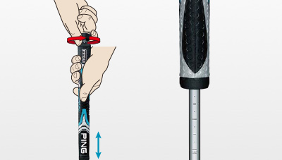 illustration of Sigma 2 putter shaft length adjustment