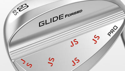Glide Forged Pro wedge with stamped initials