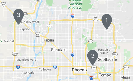 map of phoenix area showing fitting locations