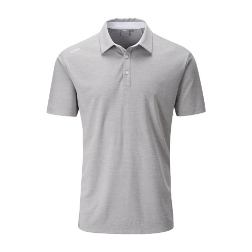Front image of Harrison Heather Polo Grey Marl White