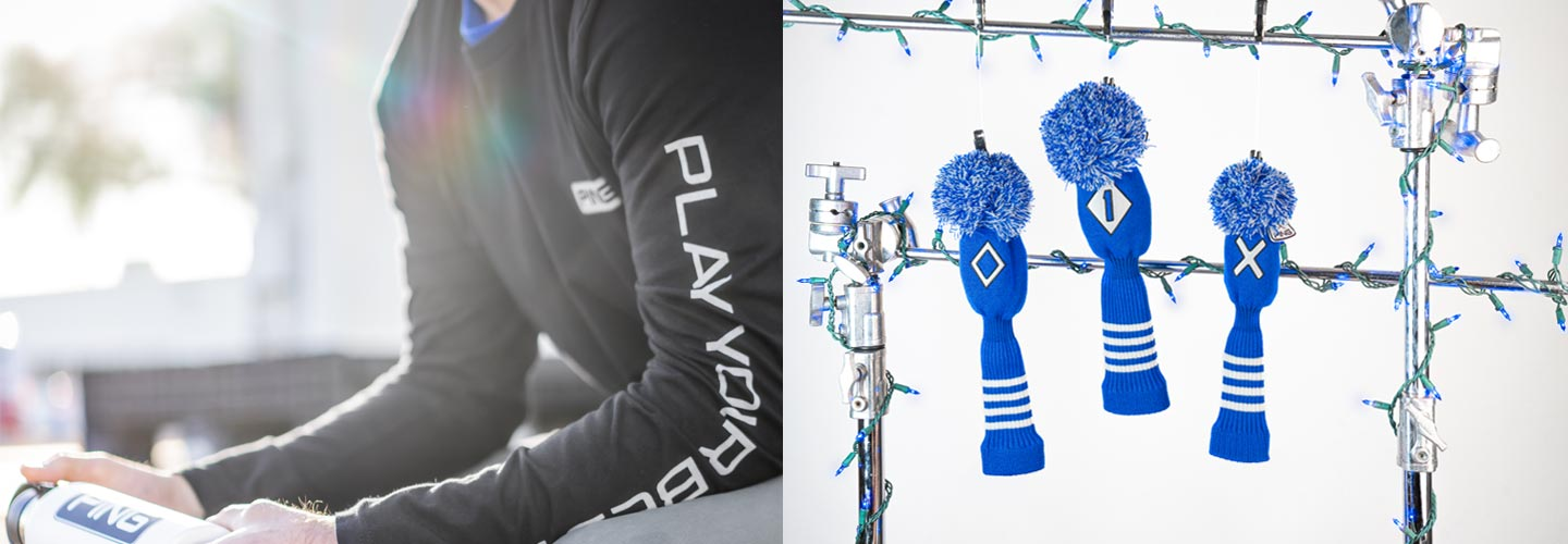 Holiday banner featuring PP58 Knit headcovers in royal and Play Your Best longsleeve in black.