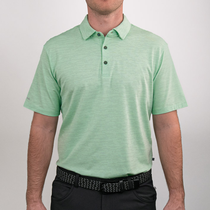 Front view of Raymond men's polo in mint multi