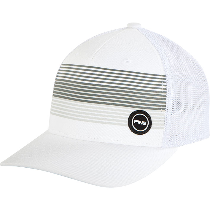 Front view of Fitted Sport Mesh Hat, White colorway