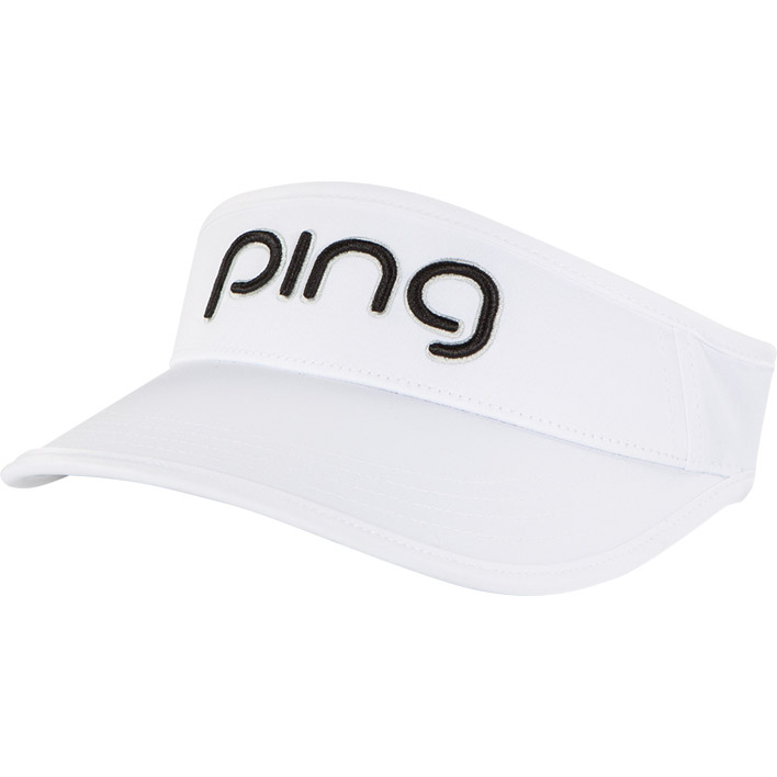 Front view of Ladies Visor, White black colorway