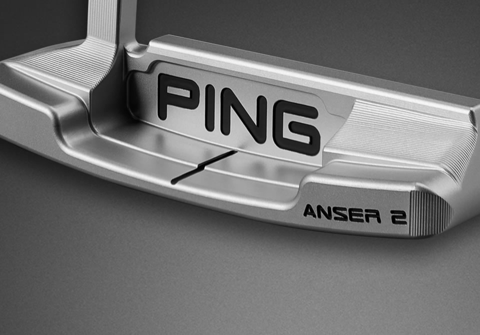 Detail Cavity view of a Vault platinum Anser 2 putter